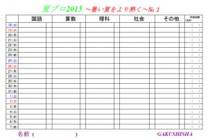 夏プロ計画表